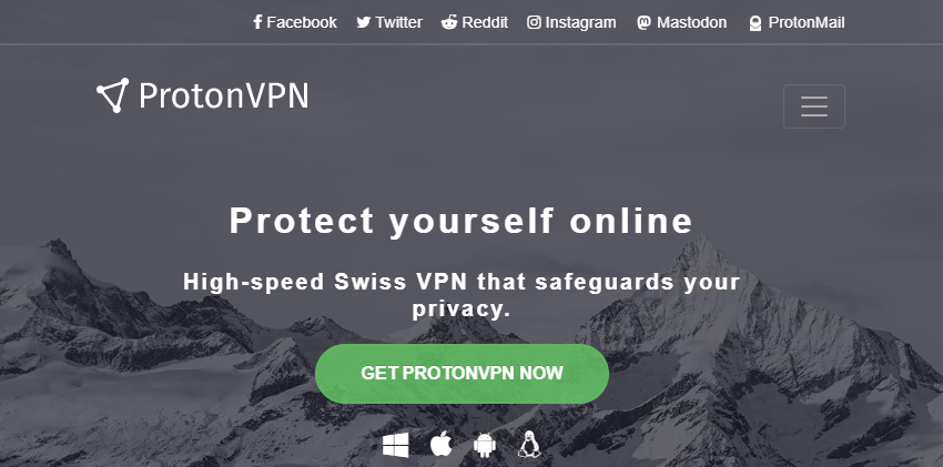 ProtonVPN トップページ